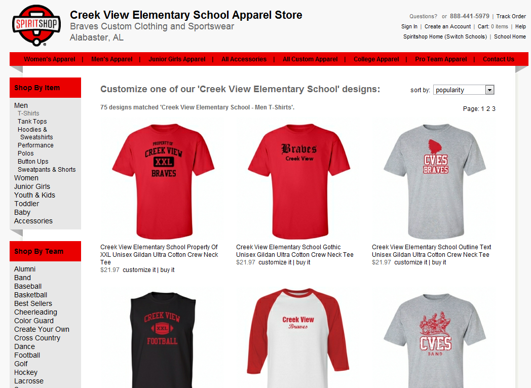 The Creek View Elementary School apparel and sportswear store ...