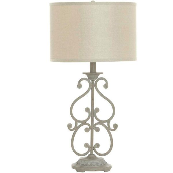 French wrought iron lamp home pinterest iron table wrought chateau french iron table lamp with taupe shade aloadofball Image collections