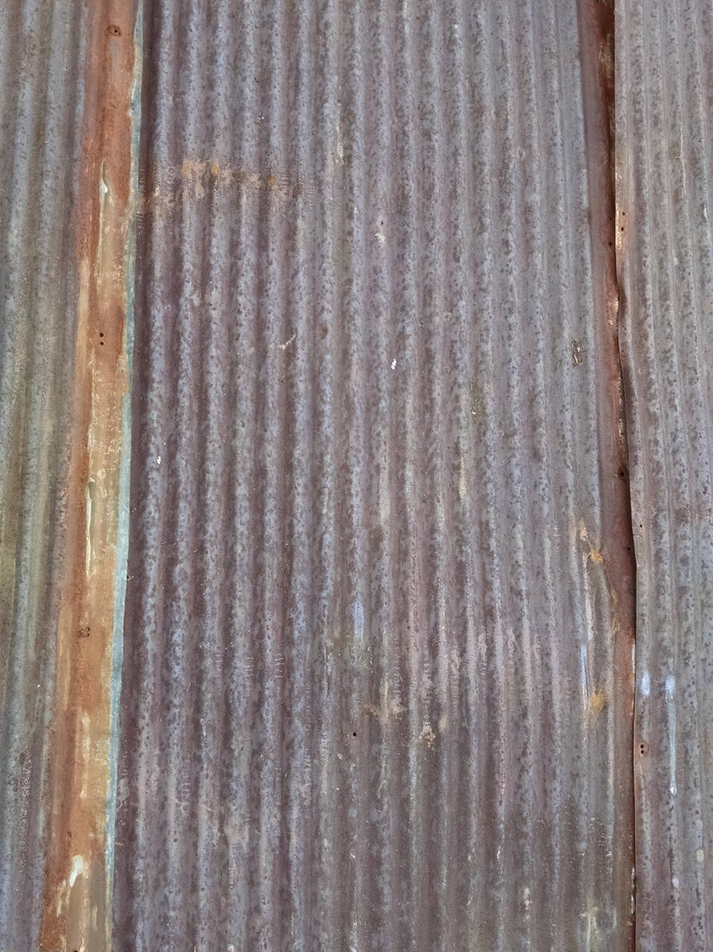 Rusty With Orange And White Reclaimed Corrugated Metal Roofing Etsy Corrugated Metal Roof Metal Roof Corrugated Metal