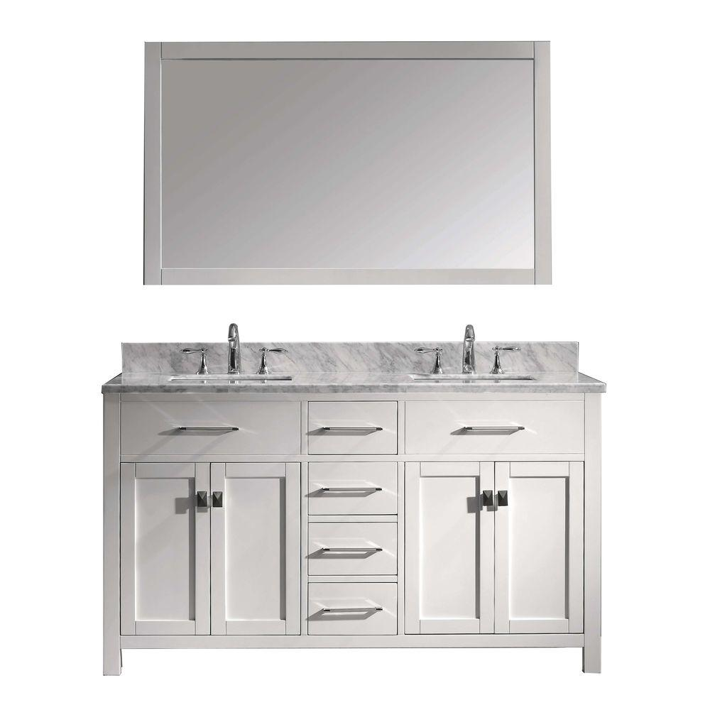 Virtu Usa Caroline 60 In W Bath Vanity In White With Marble