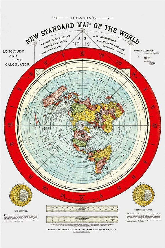 Flat Earth Map 1892 Gleason\u0027s New Standard Map Of The World Large