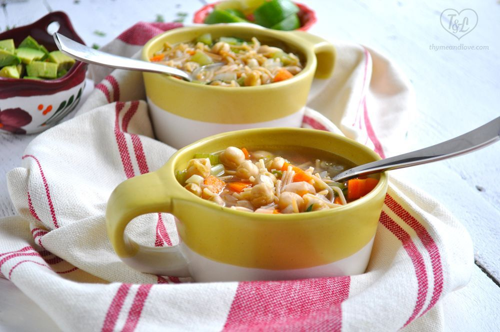 Mexican Chickpea Noodle Soup #chickpeanoodlesoup Mexican Chickpea Noodle Soup: Simple and comforting, soup that is healthy, satisfying, and easy to make! #vegan #mexican #plantbased #soup #chickpeanoodlesoup