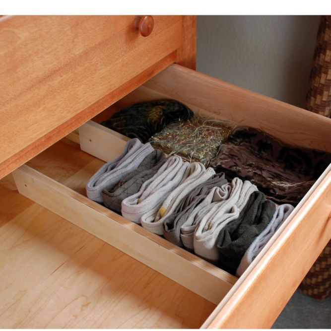 Expandable Drawer Dividers (set of 2) - Drawer Dividers customize drawers for effortless organization. Here's a better idea: organize your drawers so you don't have to dig through spatulas for spoons, or search under T-shirts for socks. Instantly create compartmentalized storage with these spring-loaded wooden dividers.