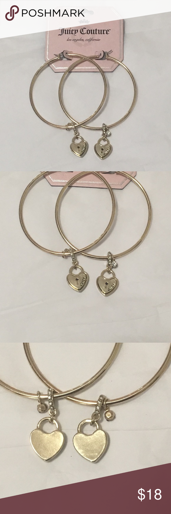 Juicy Couture Hoop Earrings Large With Cute Little Heart And Rhinestone Dangley Charms One