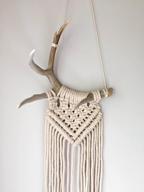 Deer Antler Wall Hanging /// Macrame Wall Hanging ...