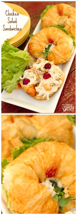 Chicken Salad Sandwiches are a go-to recipe for me when I'm hosting a luncheon or a shower.  The chicken filling can be made a day or two ahead.   via @favfamilyrecipz