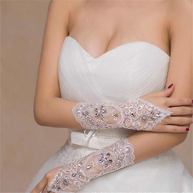 141a680cda7 Cheap Free Size White Fingerless Rhinestone Lace Sequins Short Bridal  Wedding Gloves Wedding Accessories