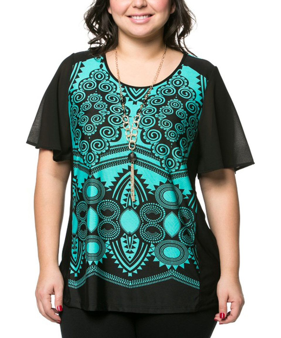 Essential Collection Aquamarine & Black Circle Top & Necklace - Plus by Essential Collection #zulily #zulilyfinds