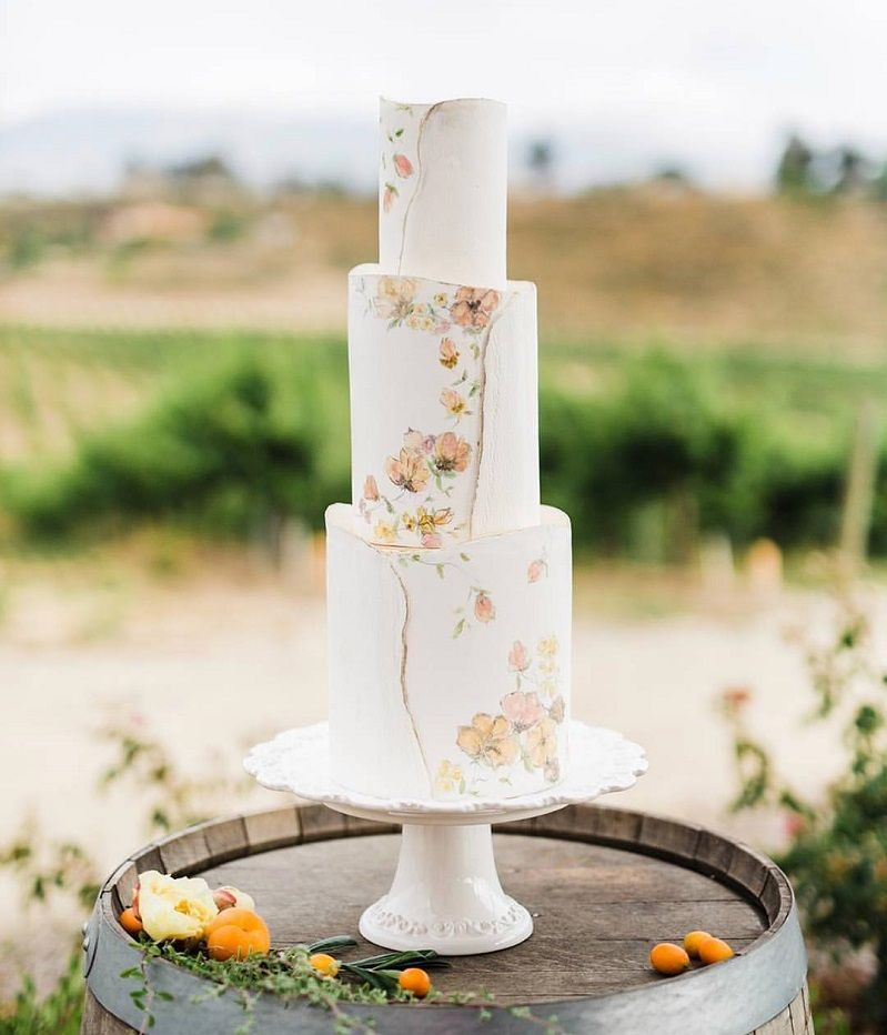 22 Beautiful wedding cakes to inspire you : Three tier floral painted wedding cake