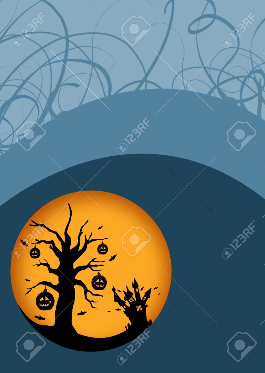 Halloween Poster: Haunted Castle And Pumpkin Trees Background.. Stock Photo, Picture And Royalty Free Image. Pic 15591898.