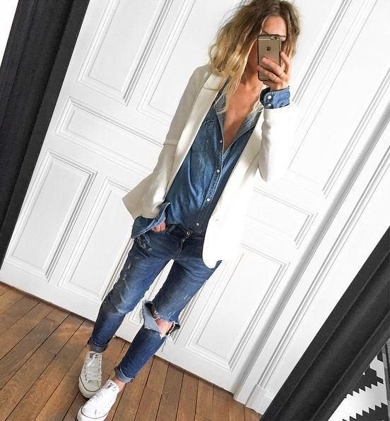 converse blanche jeans