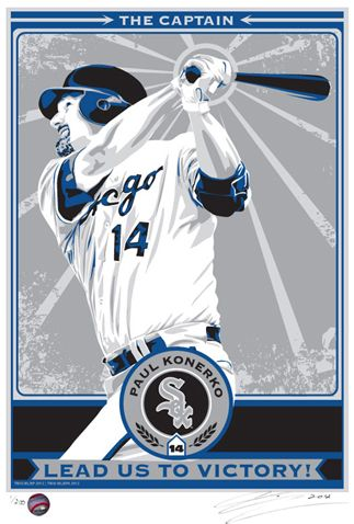 Paul Konerko Screen Print Hand Made In A Limited Edition Of 200