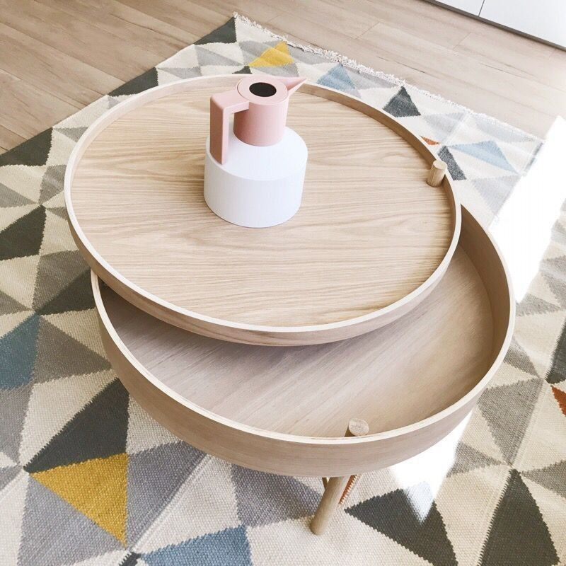 Modern chic round wood storage coffee table natural