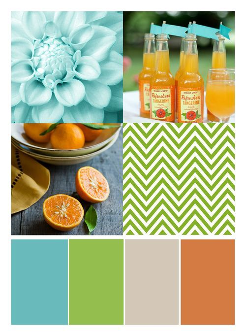 aqua + lime + kraft + orange