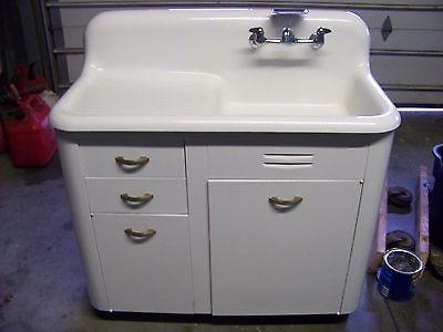 antique high backsplash cast iron porcelain drainboard sink  u0026 cabinet  42       antique high backsplash cast iron porcelain drainboard sink      rh   pinterest com
