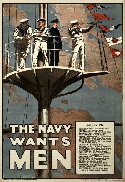WA1 Vintage WWI British Royal Navy Wants Men War Recruitment Poster WW1 A1 A2 A3