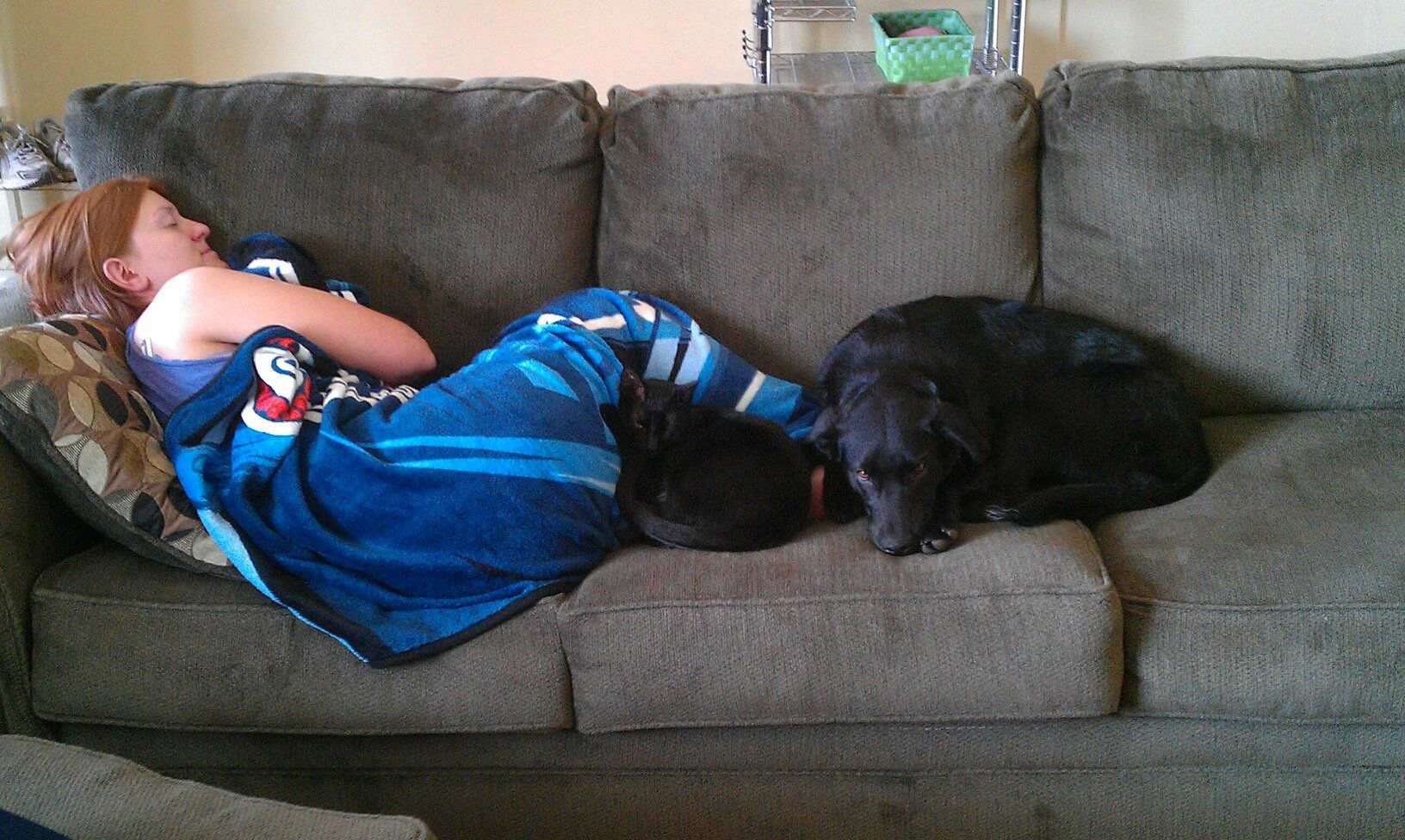 Tucker and Maggie cuddling