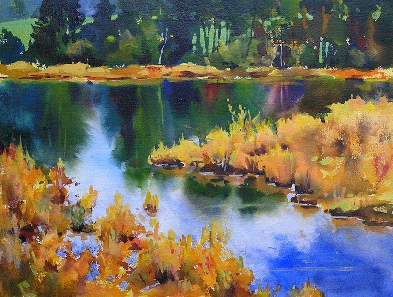 Acrylic Paintings September Marsh Ii Acrylic Painting On Watercolour Paper 16 X 12 Famous Acrylic Paintings Landscape Paintings Acrylic Watercolor Landscape