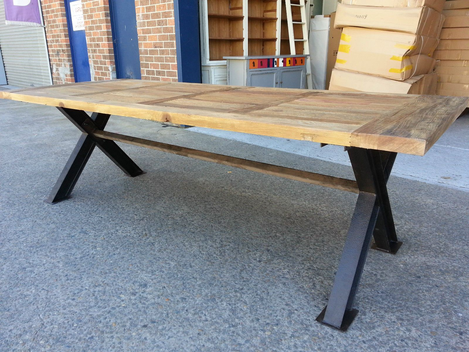 NEW FRENCH INDUSTRIAL RECYCLED VINTAGE RUSTIC TIMBER DINING TABLE   2.5M