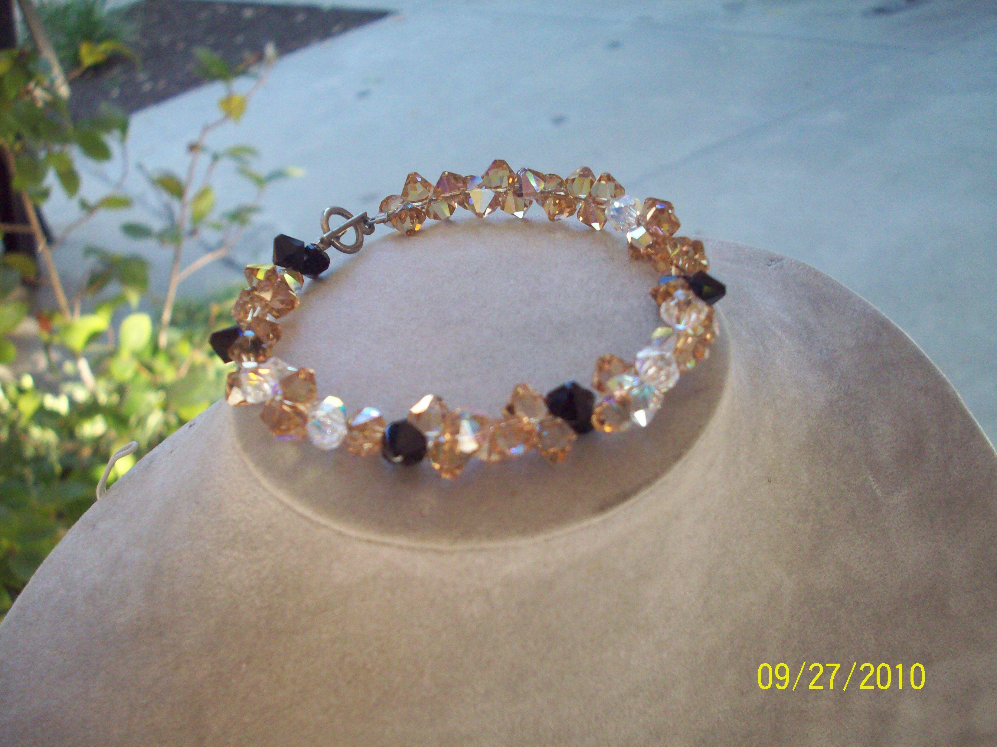 Swarovski crystal top drilled bracelet
