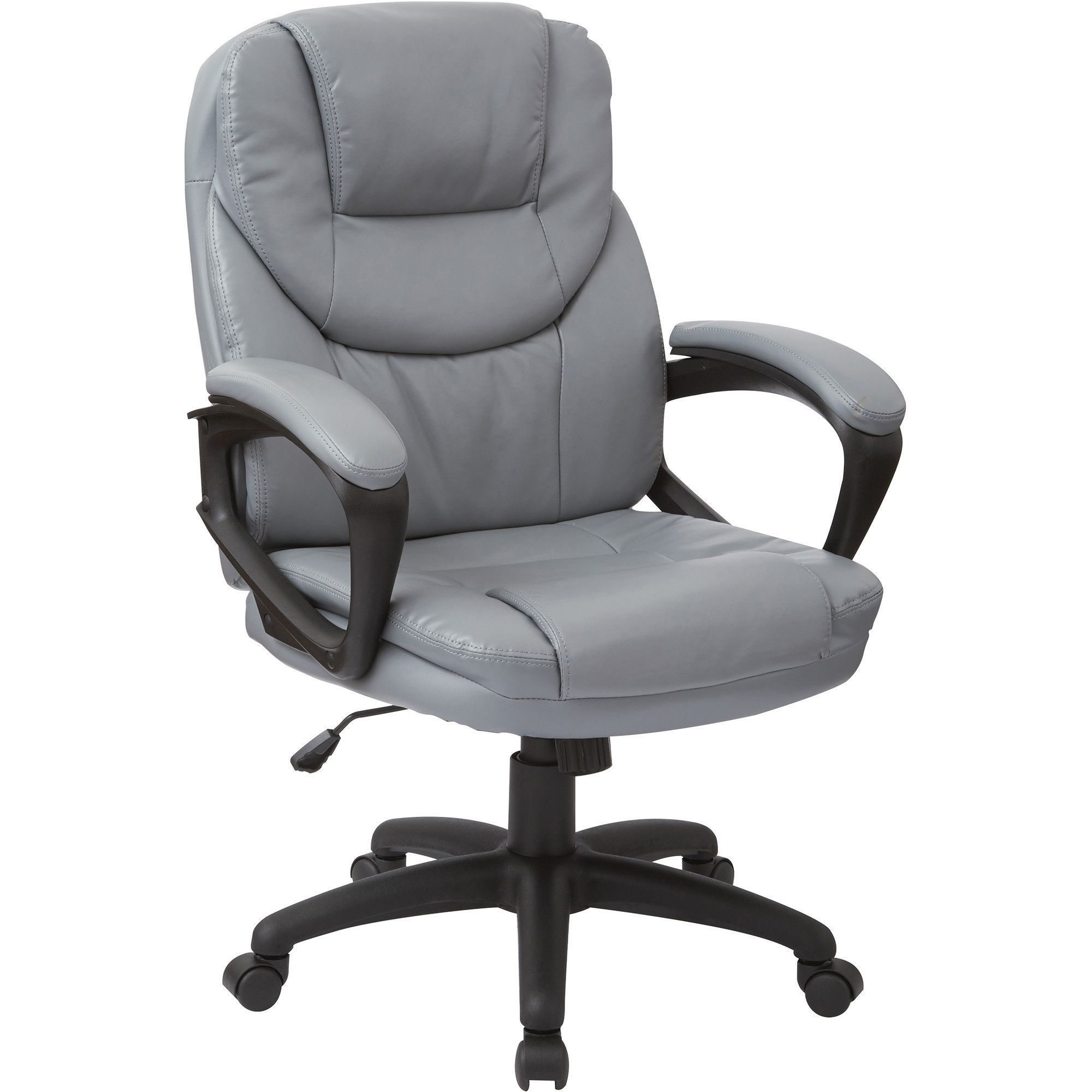 Work Smart Manager's Chair with Padded Arms, Charcoal Grey