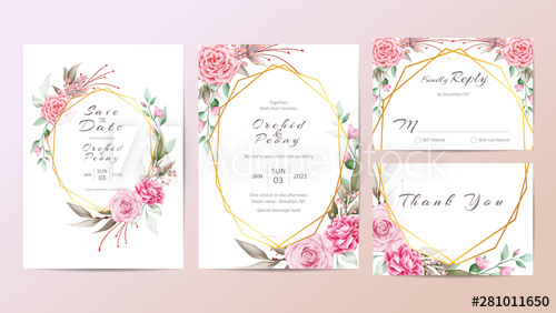 Beautiful Floral Wedding Invitation Cards Template Watercolor Flowers Wedding Invitation Card Template Floral Wedding Invitation Card Wedding Invitation Cards