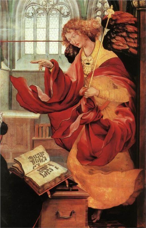 Matthias Grünewald, Detail, Isenheim Altarpiece, Archangel Gabriel from the Annunciation, c. 1512 - 1516