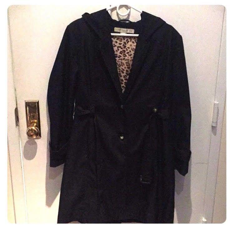good texture hottest sale quality and quantity assured Larry Levine Black Rain Trench Coat Size L #fashion ...