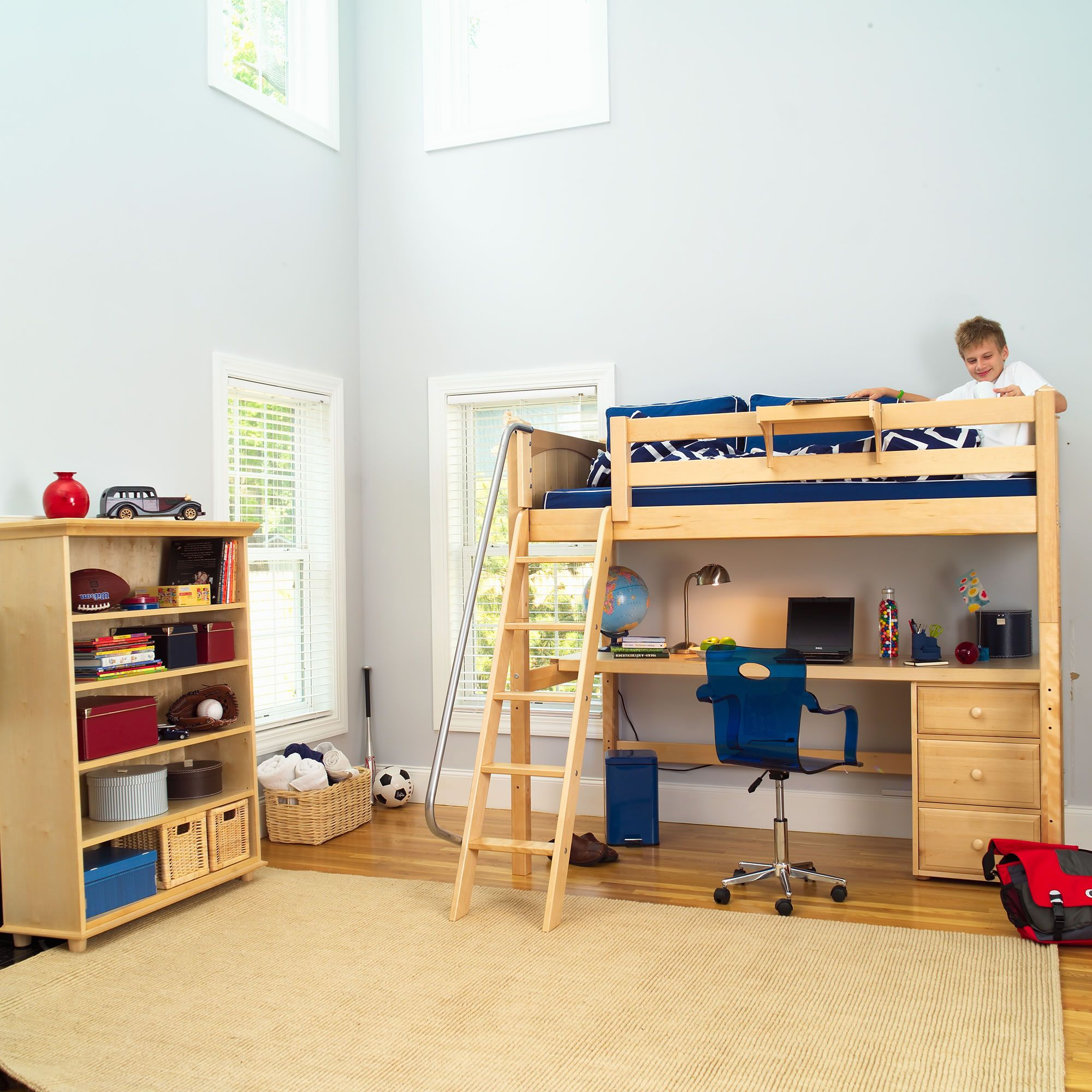 Possible next bed for my son Knock Out Panel Study Loft Long Desk