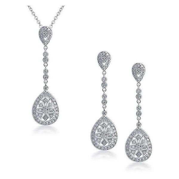 Bling Jewelry Art Deco Pave Long Teardrop Pendant Earrings Set Gatsby... (100 CAD) ❤ liked on Polyvore featuring jewelry, earrings, jewelry sets, clear, deco earrings, teardrop pendant, long pendant, chain earrings and sparkly earrings