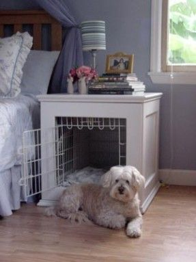 Dog crate built into bedside table, genius! Might not be able to make one big enough that still looks nice though... Great idea anyways!