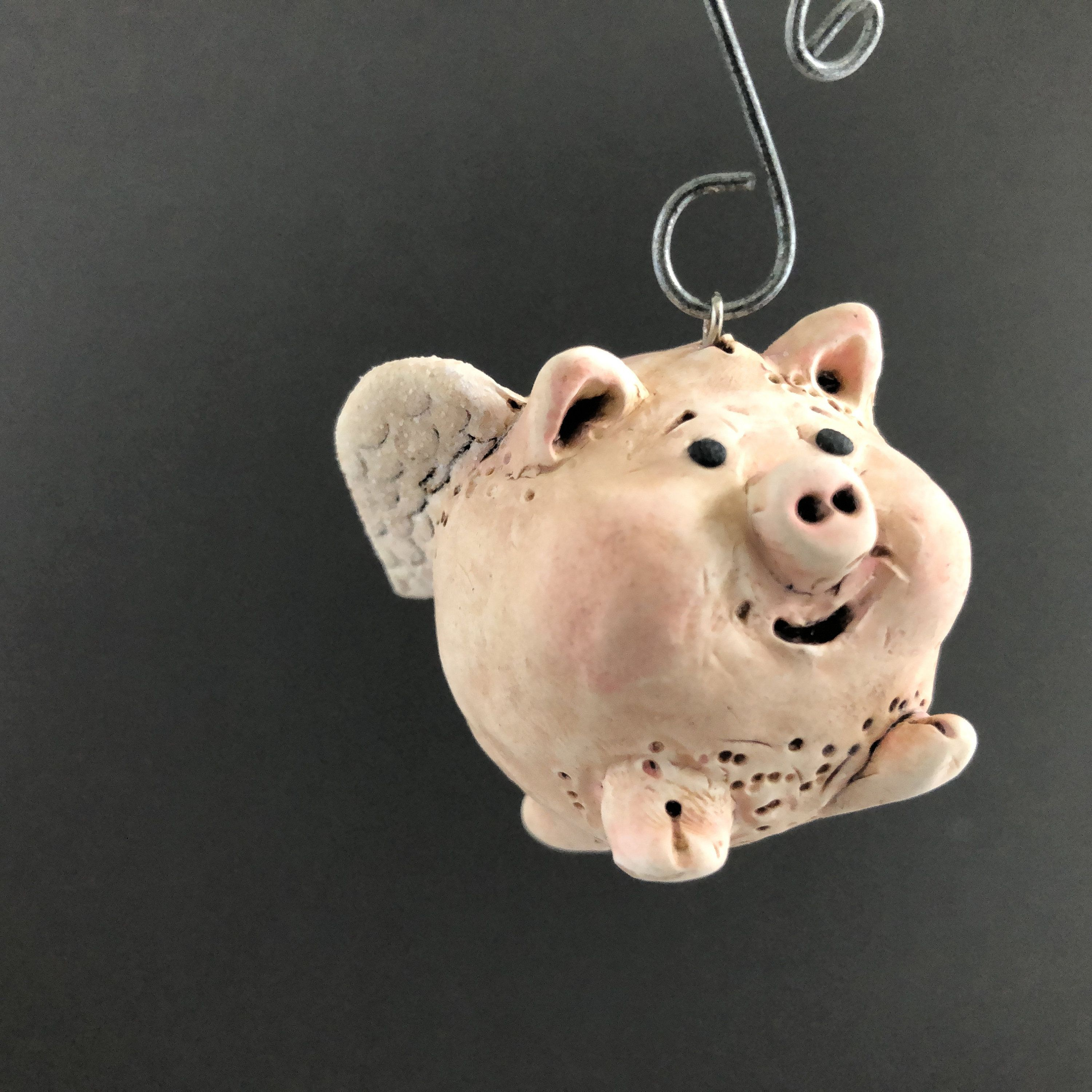Flying Pig When Pigs Fly Polymer Clay Christmas Ornament ...
