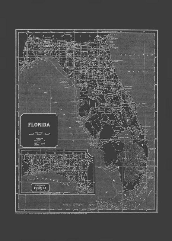 FLORIDA MAP Blueprint Map of Florida by EncorePrintSociety