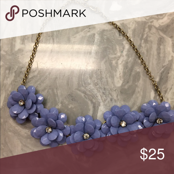 J.Crew statement necklace Beautiful periwinkle flower statement necklace. Perfect condition! Never worn! Comes with original J.Crew dust bag. Such a pretty necklace, periwinkle just isn't my color 🙃 J. Crew Jewelry Necklaces