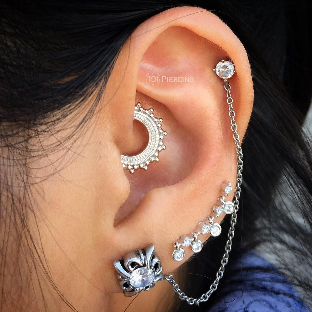 piercing jewelry white gold afghan daith ring bvla 3379