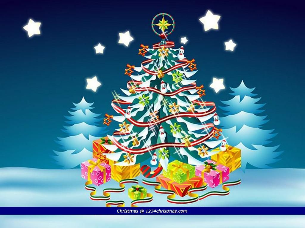 Cartoon Christmas Tree Desktop Wallpaper Cartoon Christmas