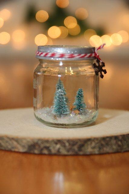 Snow Globe Glass Jar Tiny Miniature Winter Christmas By Hollybeeez Christmas Snow Globes Christmas Jars Bottle Brush Christmas Trees