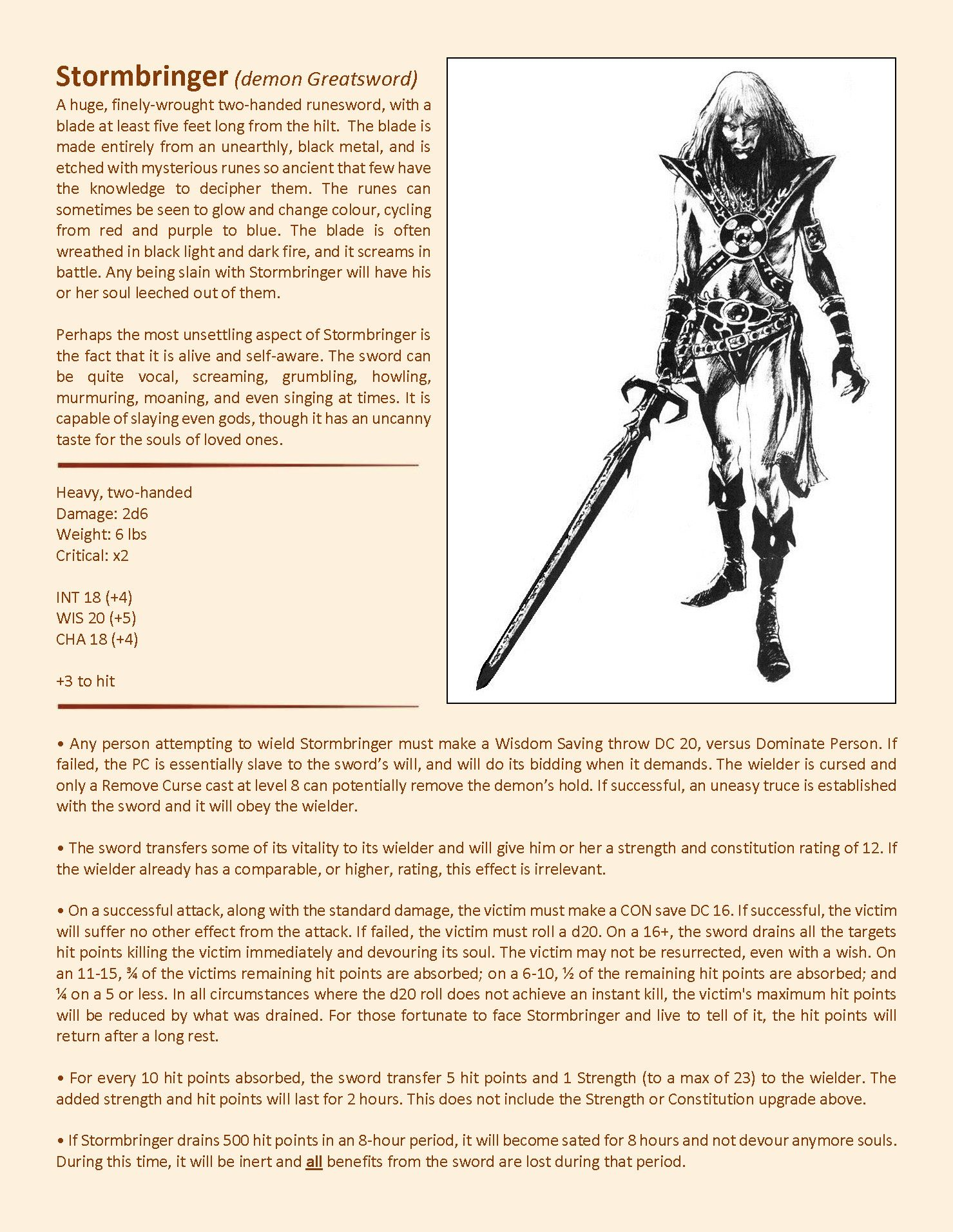 Stormbringer [5e stats] - page 1 | Elric in 2019 | Dnd art