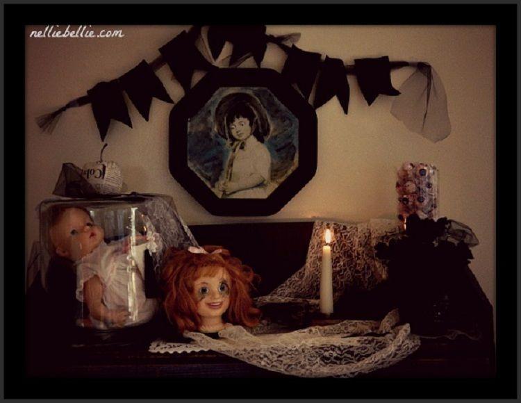 Creepy Halloween Mantel using simple props and a sense of humor - creepy halloween decor