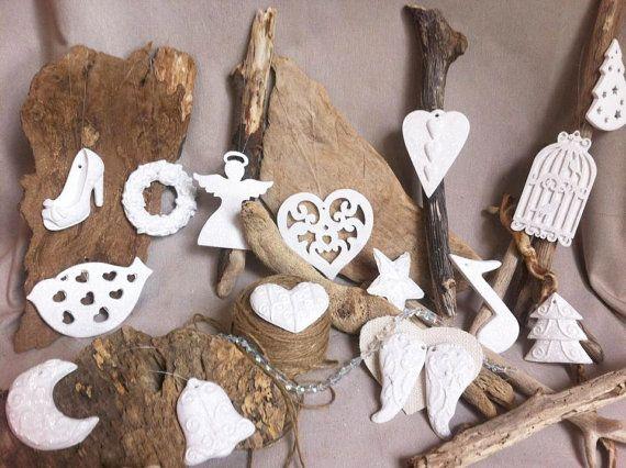 Set of christmas tree decorations ceramic materials white