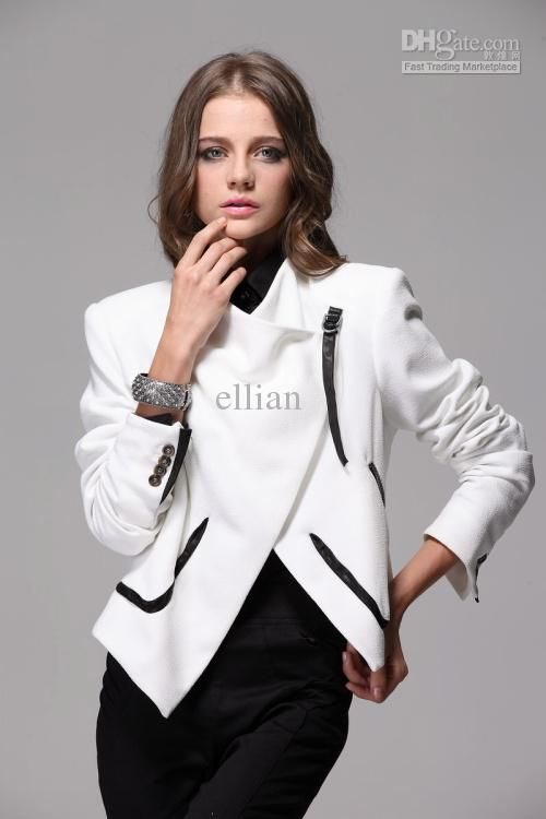 2012 new Fashion women jacket suit sheep skin white jacket elegant ...