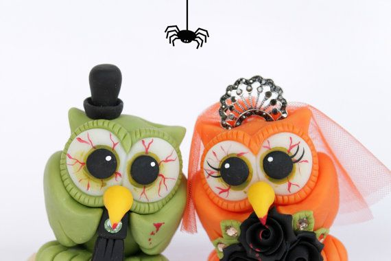 Zombie wedding cake topper, custom cute owl love birds bride and groom with banner, Halloween wedding via Etsy