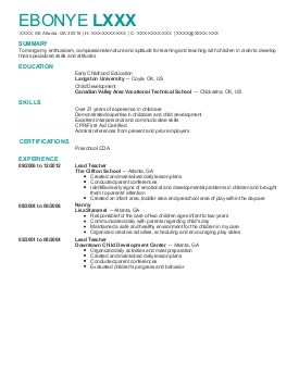 Find Graded Georgia Atlanta Childcare Resume Examples. Great Place To Startu2026  Resume Child Care
