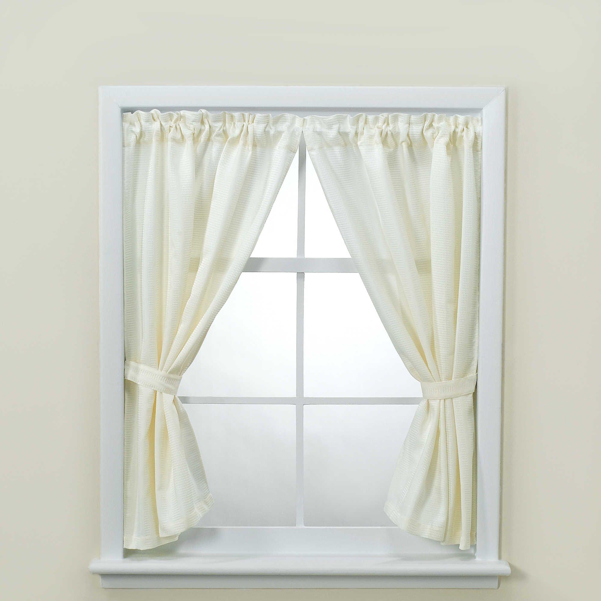 Westerly Bathroom Window Curtain Pair With Tiebacks And Hooks