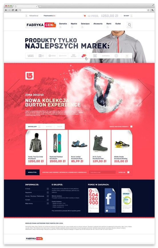 e0bf0d9f9c3  webdesign  website  layout  clothes  shop  snowboard  red Price Factory by  Challenge