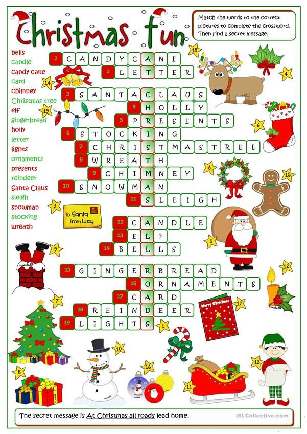 Christmas fun - crossword | English | Pinterest | Navidad, Navidad ...