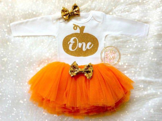 Little Pumpkin First Birthday Outfit / Baby Girl Fall 1st Birthday Outfit / Fall Birthday / Pumpkin  Infant Bodysuit / One / Orange Tutu #birthdayoutfit