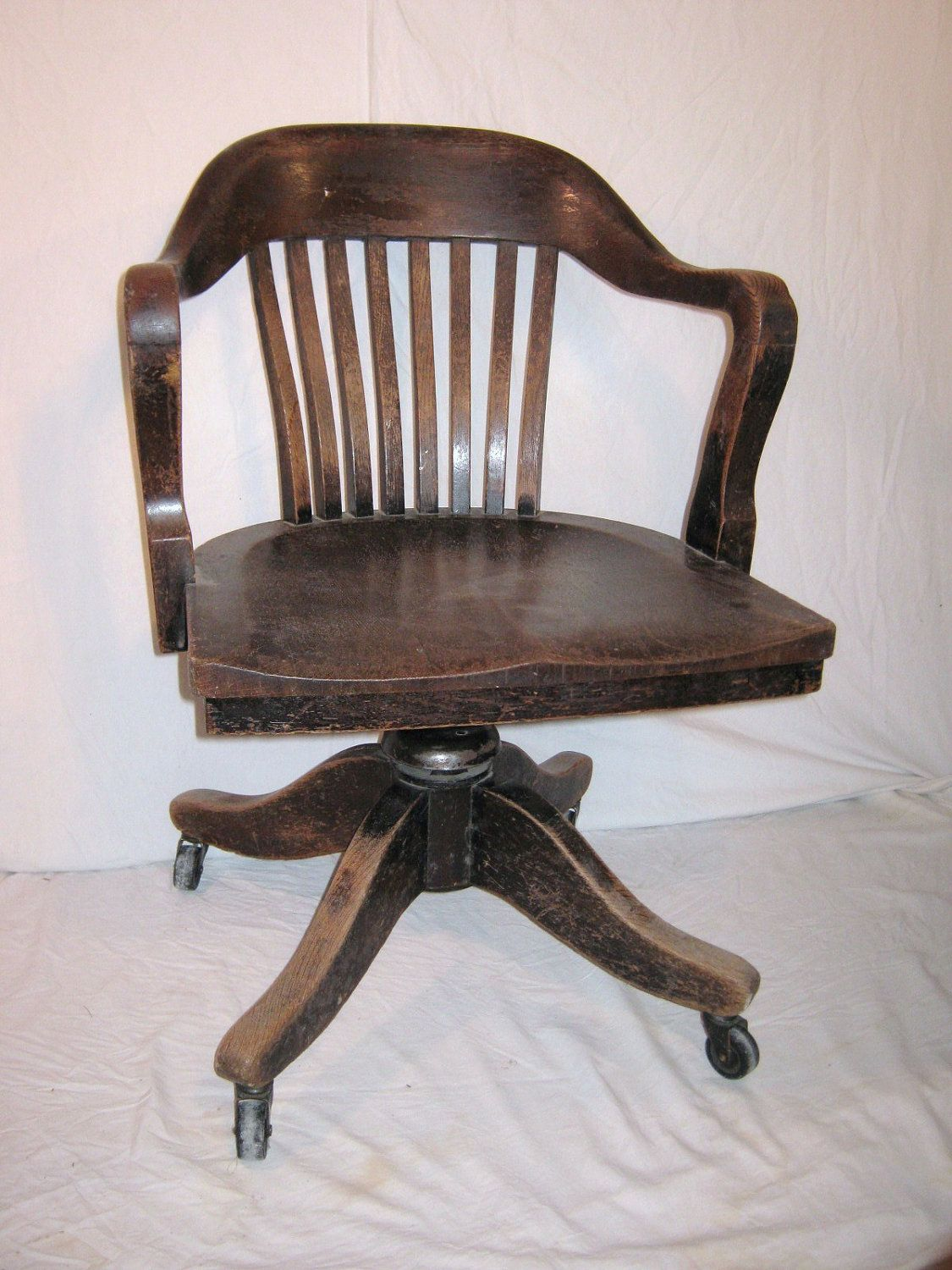 via office chairs. Bankers Chair Vintage Heavy Wood From 1930 Or Office Desk Via Chairs A