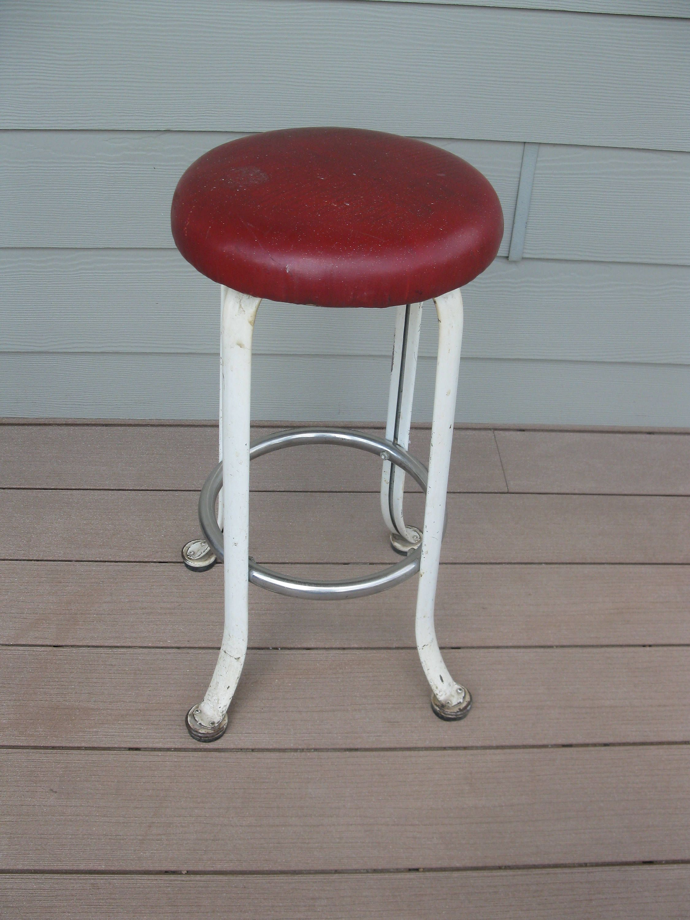 Fabulous Rare Rite Hite Kitchen Stool Red Padded Seat Childs Stool Creativecarmelina Interior Chair Design Creativecarmelinacom