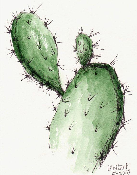 Kaktuspflanze Original Aquarell Kunst Malerei Aquarell Handgemalte Kaktus Blume Pflanze Feder Kunst #cactuswithflowers